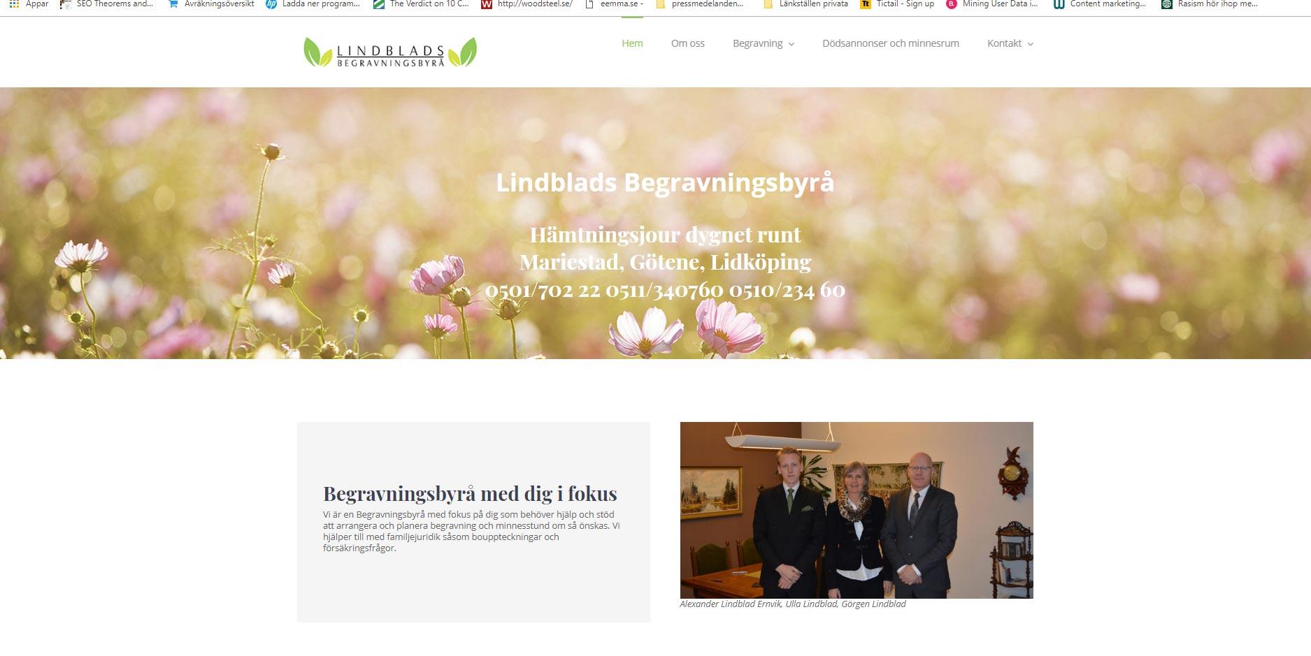 Webbplats till Lindblads begravningsbyrå